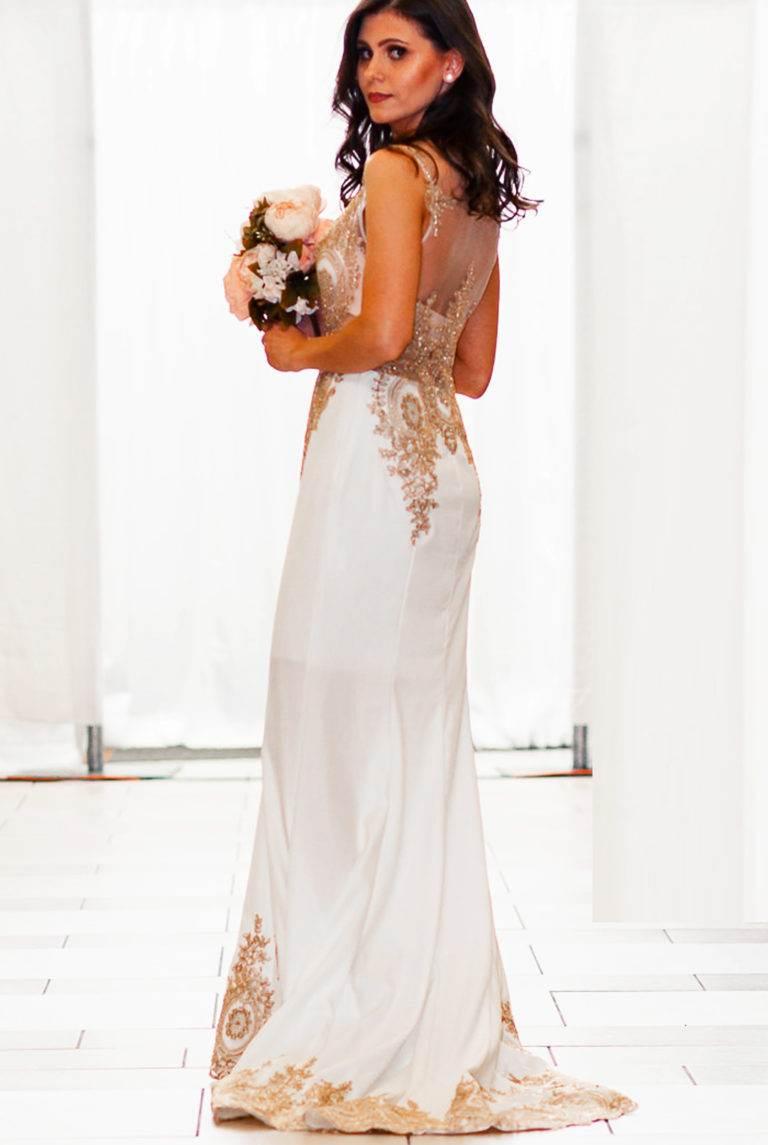 Ivory Gold Designer Wedding Prom Long Dress Seattle Fashion
