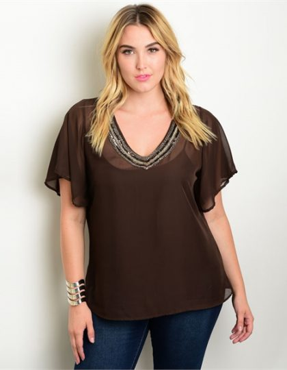 Brown silk chiffon beaded designer party blouse
