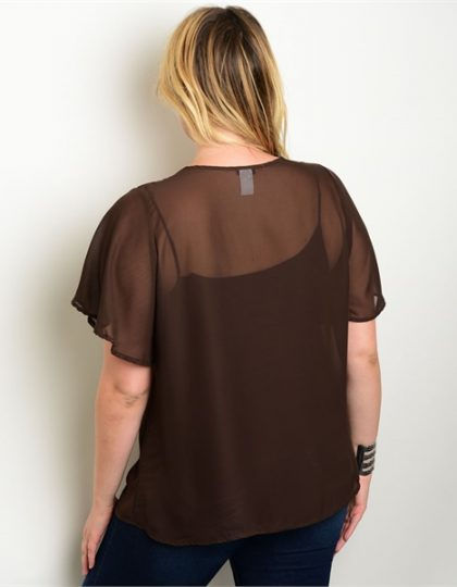 Brown silk chiffon beaded designer party blouse seattle fashion