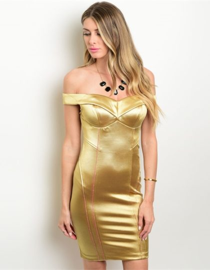 DESIGNER fashion seattle boutique gold cocktail dress