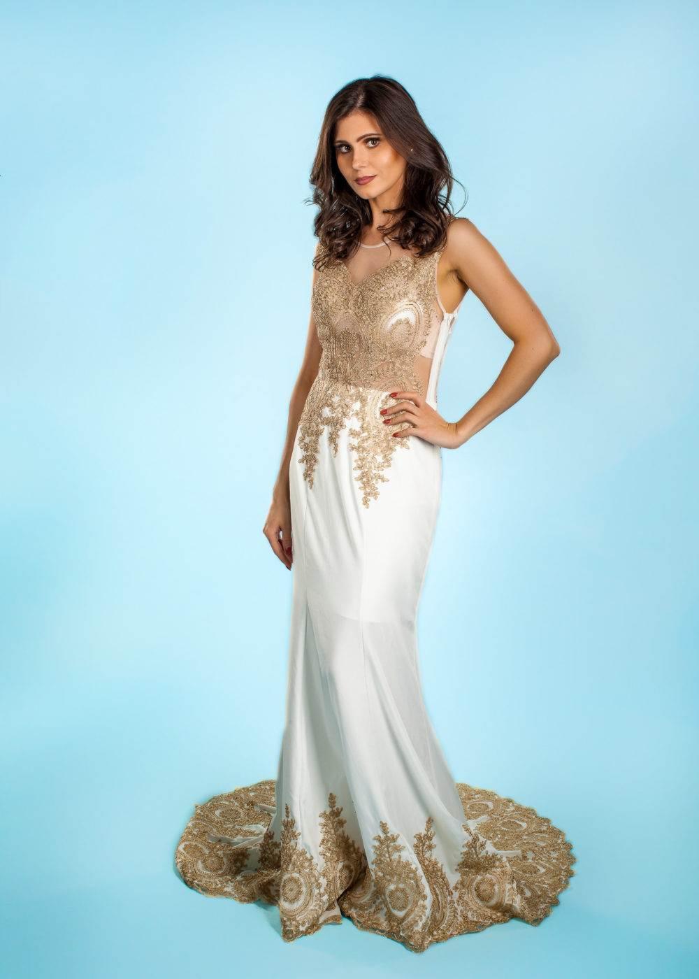Ivory Designer Long Dress WEDDING Prom Custom gown