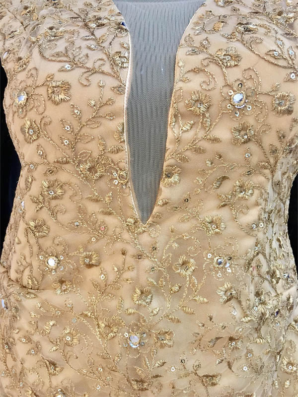 Gold beaded ivory designer prom wedding dress