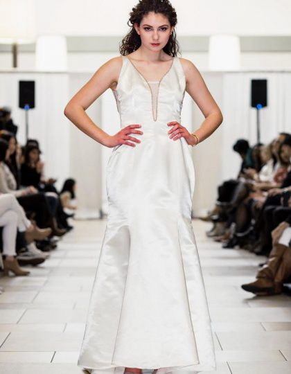 Ivory beaded modern custom wedding prom dress
