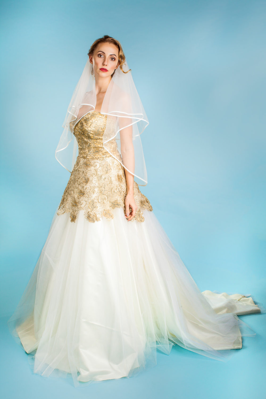 Ivory Designer Princess Cathedral Train Wedding Dress