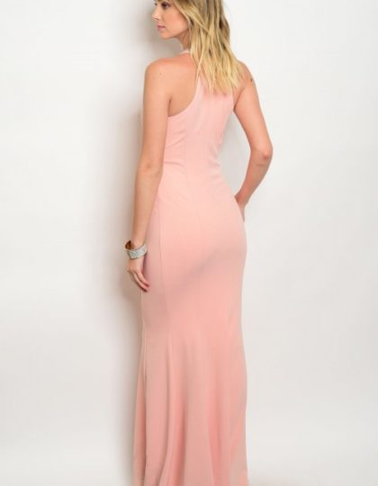 Seattle women's designer fashion Blush long prom dress back