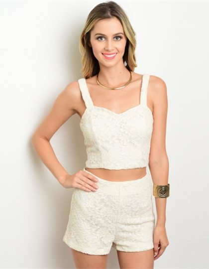 Seattle women's designer fashion spring beige lace top short