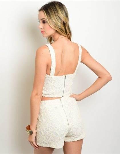 Seattle women's designer fashion spring ivory lace top short set