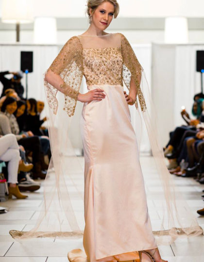 blush peach designer prom custom long dress seattle boutique