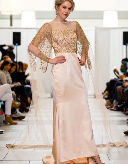 blush peach designer prom custom long dress seattle boutique