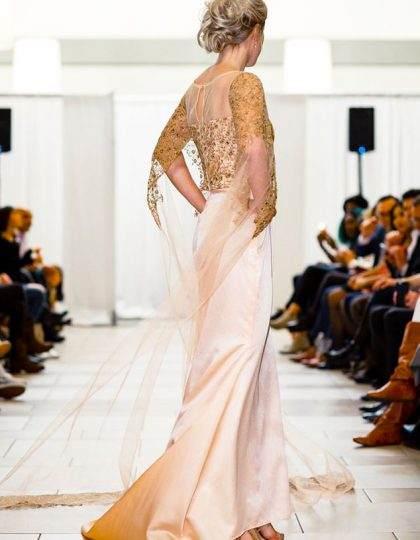 blush peach pink designer prom custom long wedding dress seattle bellevue