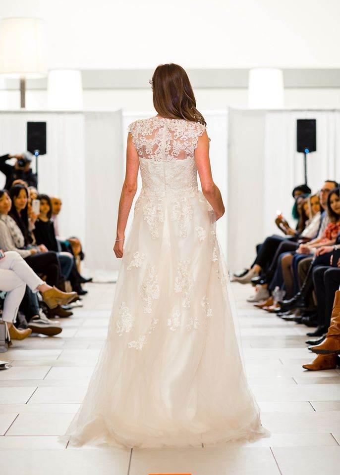 designer champagne wedding dress back