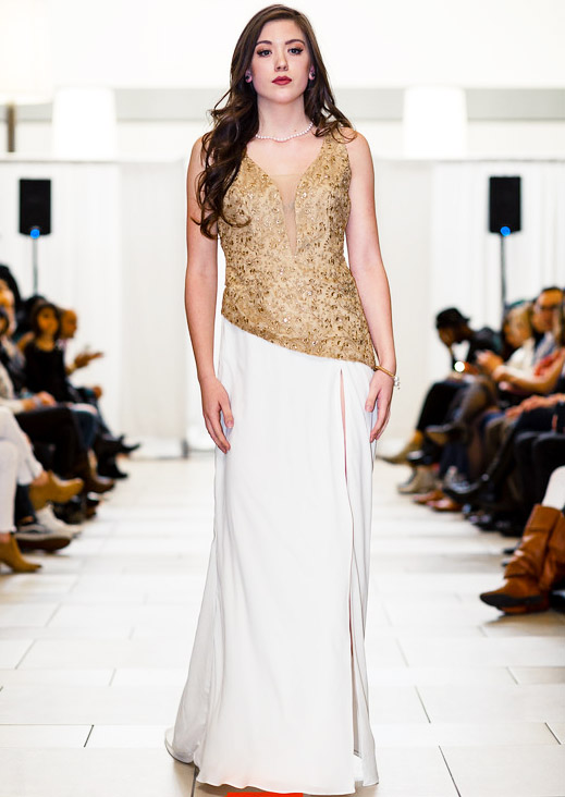 Ivory and Gold Long Designer Gown Prom Dress