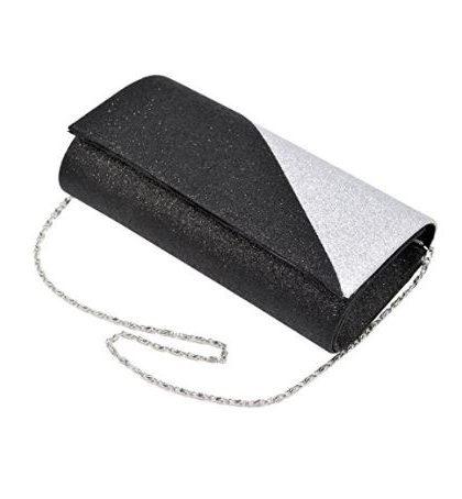 designer silver black wedding prom clutch purse fashion
