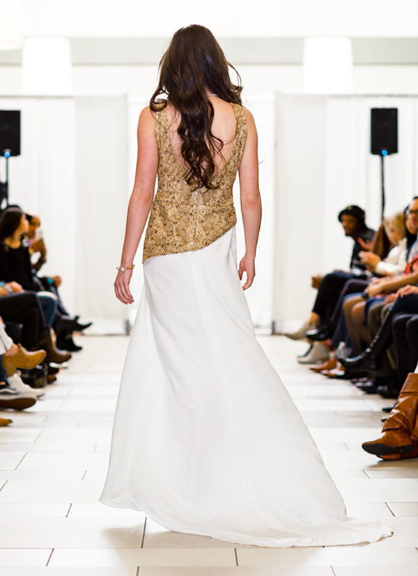 Ivory Gold Long Designer Gown Prom Dress Seattle Fashion