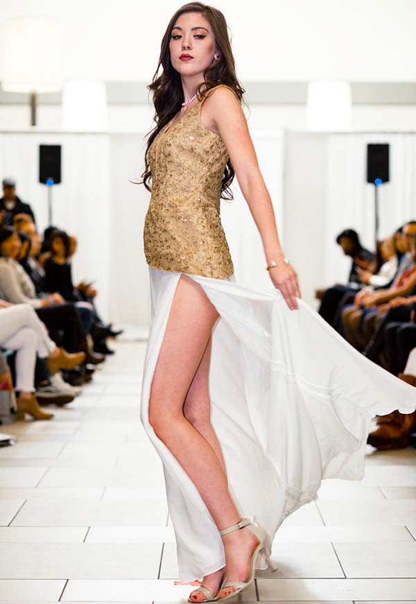 Wedding Prom Designer Fashion Dress Ivory Gold Long