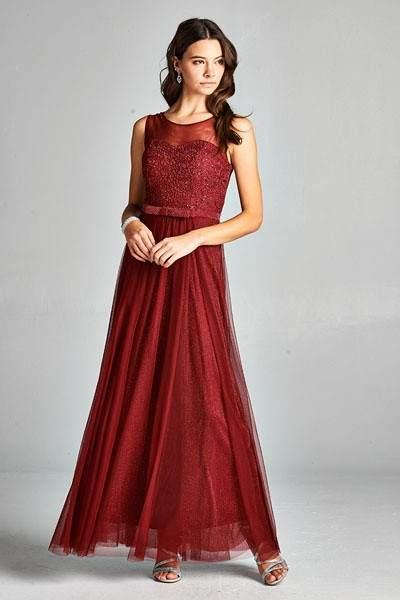 Burgundy Long Designer Bridemaid Prom Dress Seattle Bellevue Boutique (1)