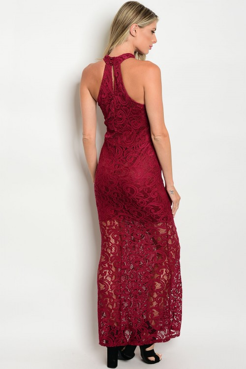burgundy prom bridesmaid bellevue boutique designer lace dress