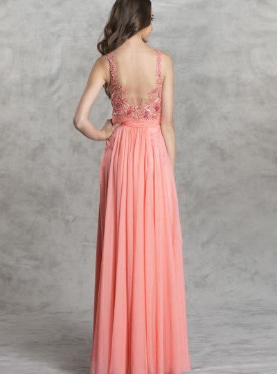 Coral Designer Beaded Prom bRIDESMAID Dress Boutique Bellevue Seattle