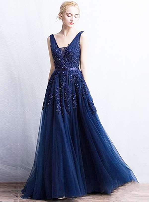 Buy Designer Navy Beaded Princess Gown For Women Online - Kahini Fashion