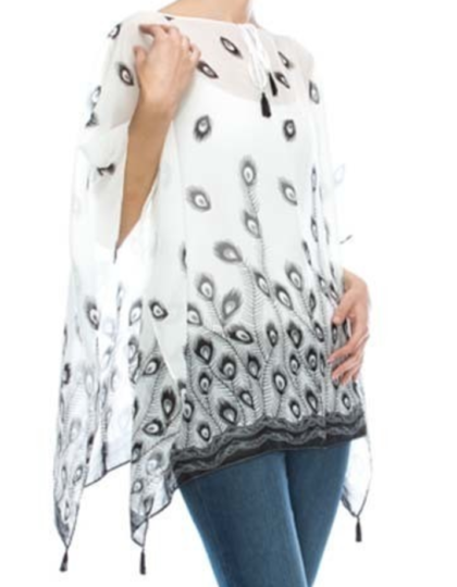 WOMEN'S summer white loose fit poncho swim coverup