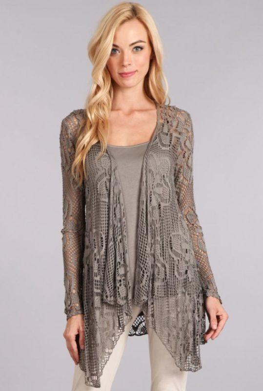 crochet designer grey taupe sweater
