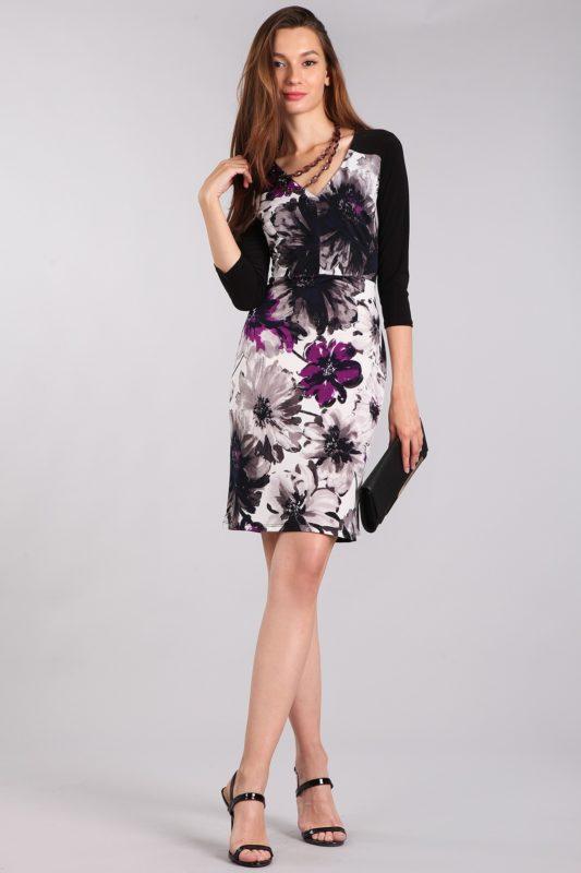 Black Floral Cocktail Dress Designer Boutique Bellevue Seattle Shop