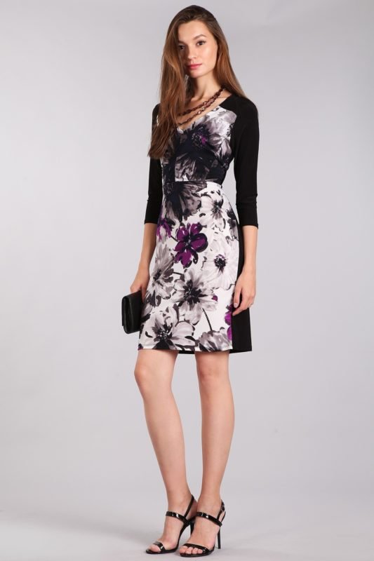 Black Floral Cocktail Dress Designer Boutique Bellevue Seattle Women's Shopping