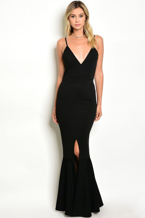 designer fashion black prom party long dress