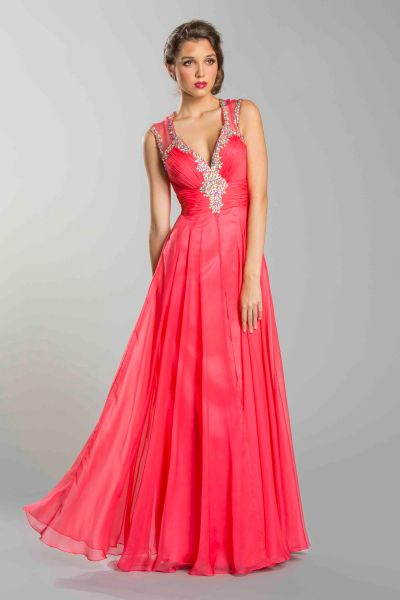 Seattle fashion Bellevue Shop Coral red prom long dress