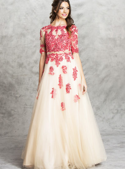 Coral Ivory Champagne Weddig Bridal Prom Princess Gown Dress