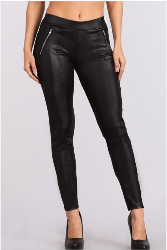 BELLEVUE Designer boutique black leggings faux leather pants