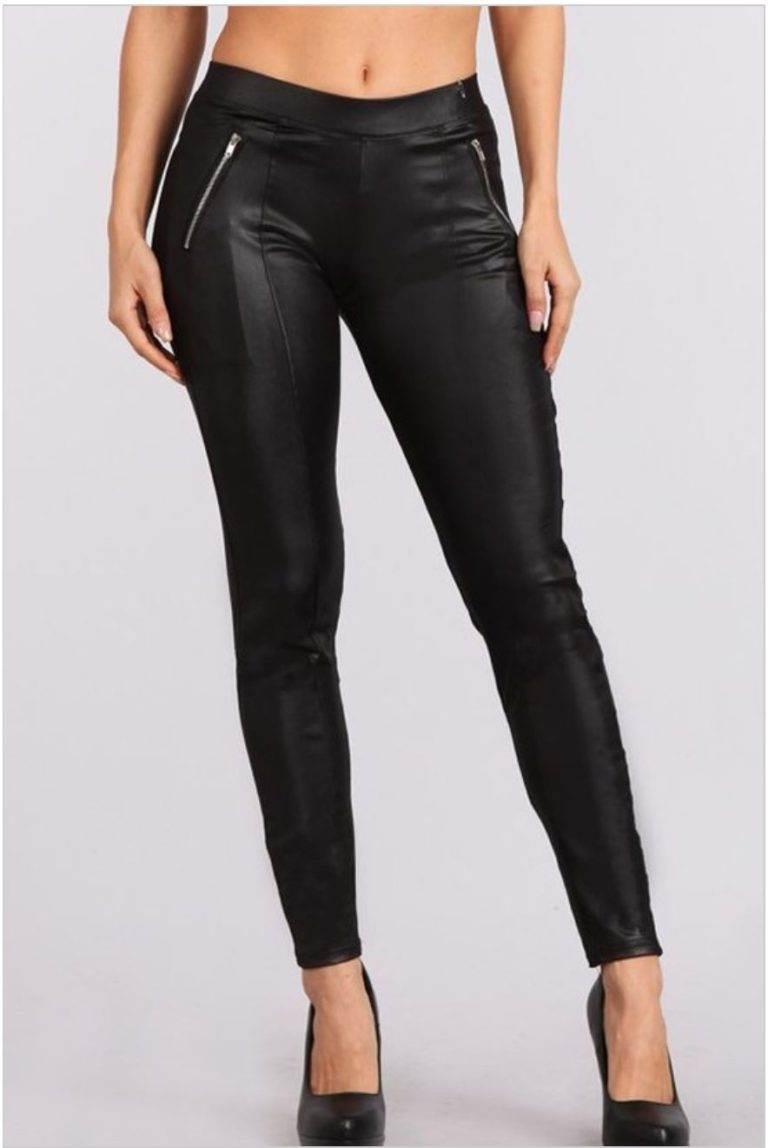 BELLEVUE Designer boutique black leggings faux leather pants