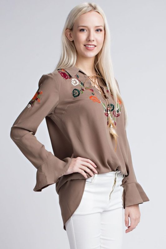 Taupe Designer Embroidered Top Seattle Bellevue Boutique