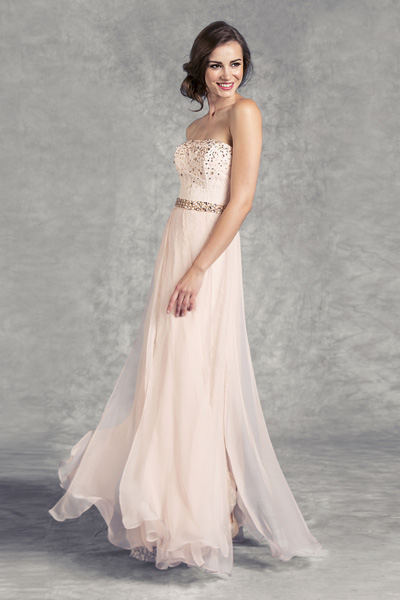 Peach Blush Pink Prom Long Designer Dress