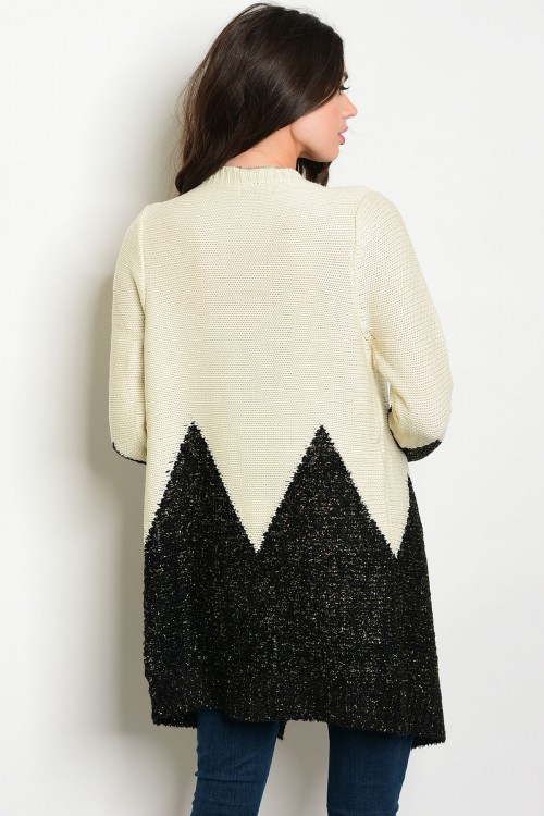 Beige Black Colorblock Designer Cardigan Bellevue Seattle Fashion Boutique