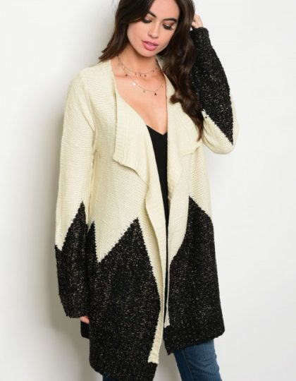 Beige Black Colorblock Designer Heavy Cardigan Bellevue Seattle Fashion Boutique