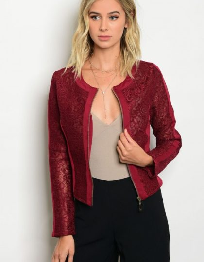 Designer Burgundy Lace Jacket Bellevue Seattle Fashion Boutique Dress