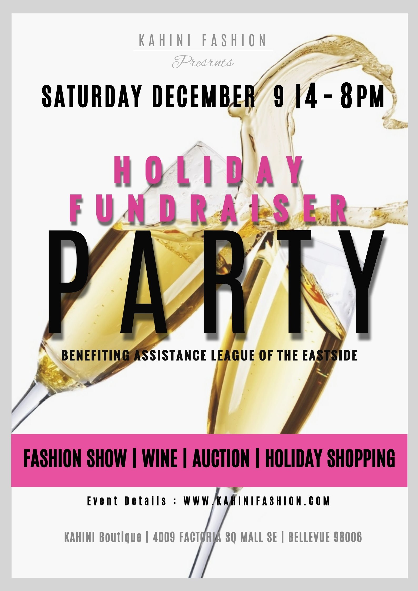 Holiday Fashion dESIGNER Boutique Fundraiser Bellevue Party
