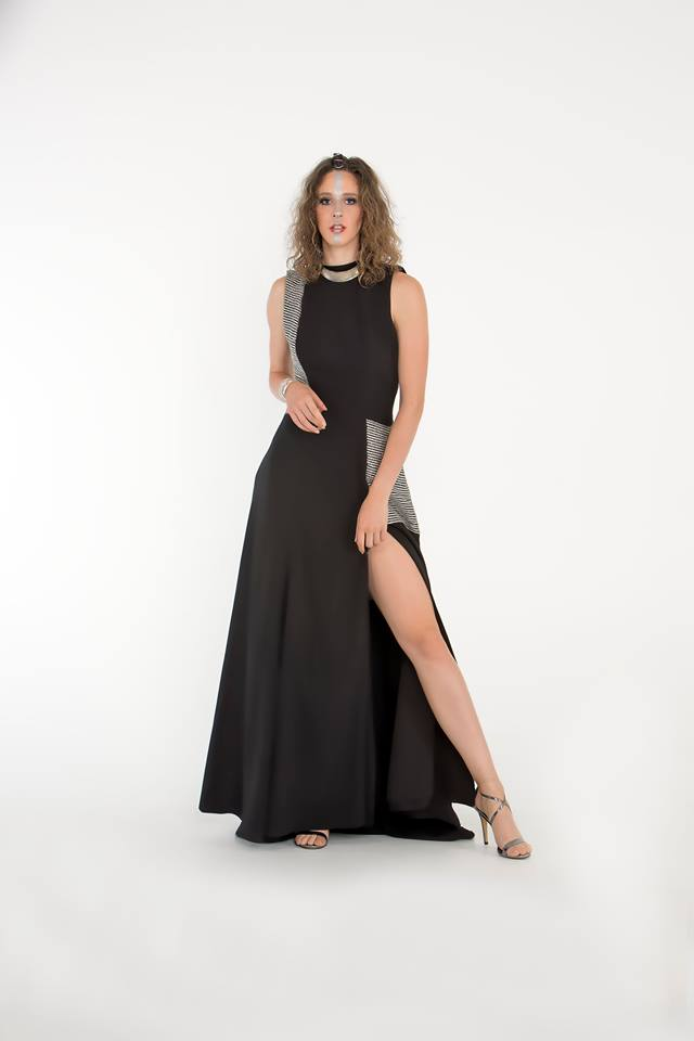 DEsigner Black Silver sequin long dress