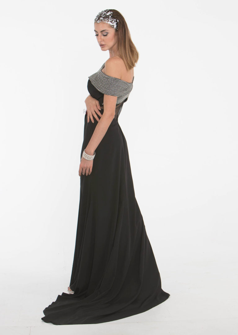 black off shoulder designer gown back