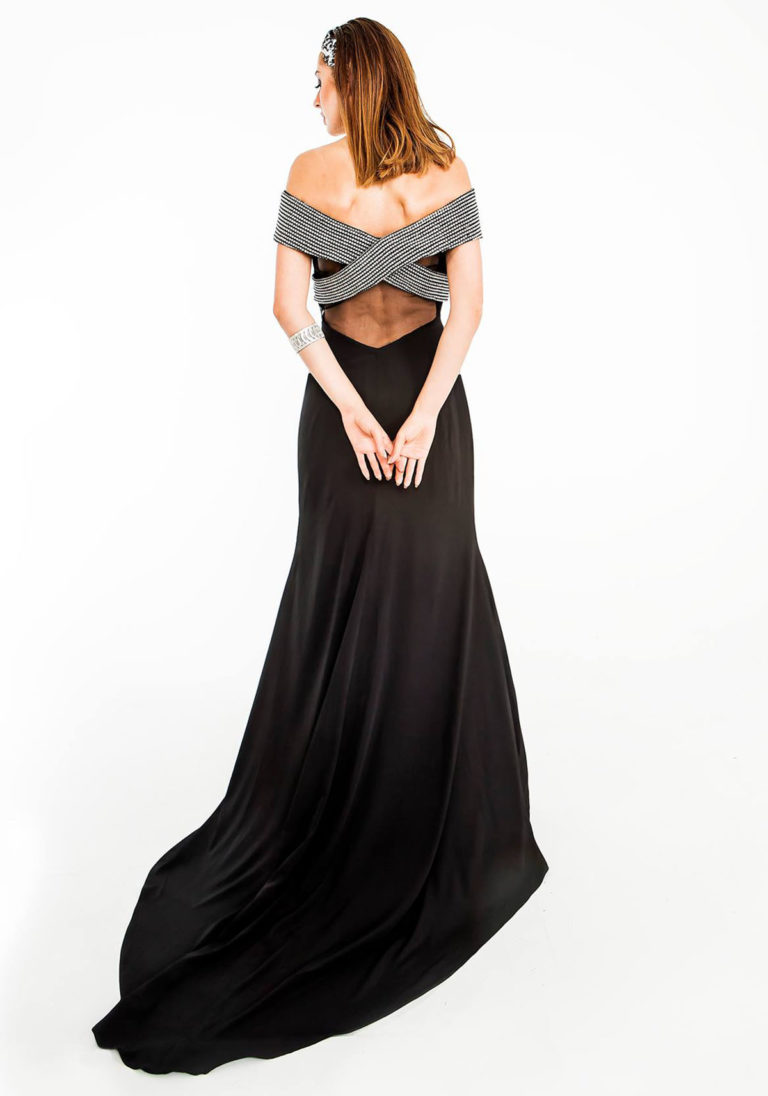 black off shoulder designer gown prom back