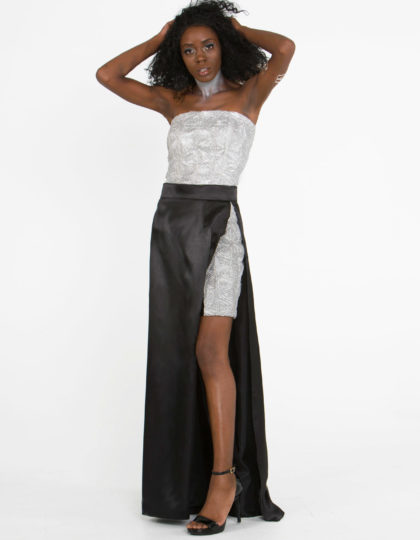 silver black designer fashion two piece set skirt top