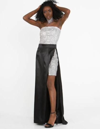 silver black designer fashion two piece set skirt top