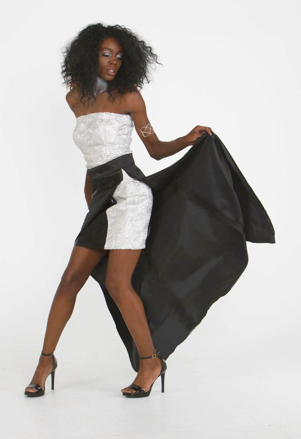 silver black designer two piece set skirt top