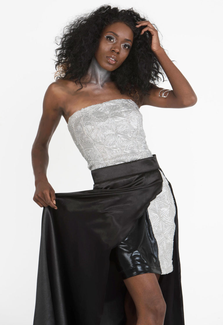 silver black designer two piece set skirt top seattle