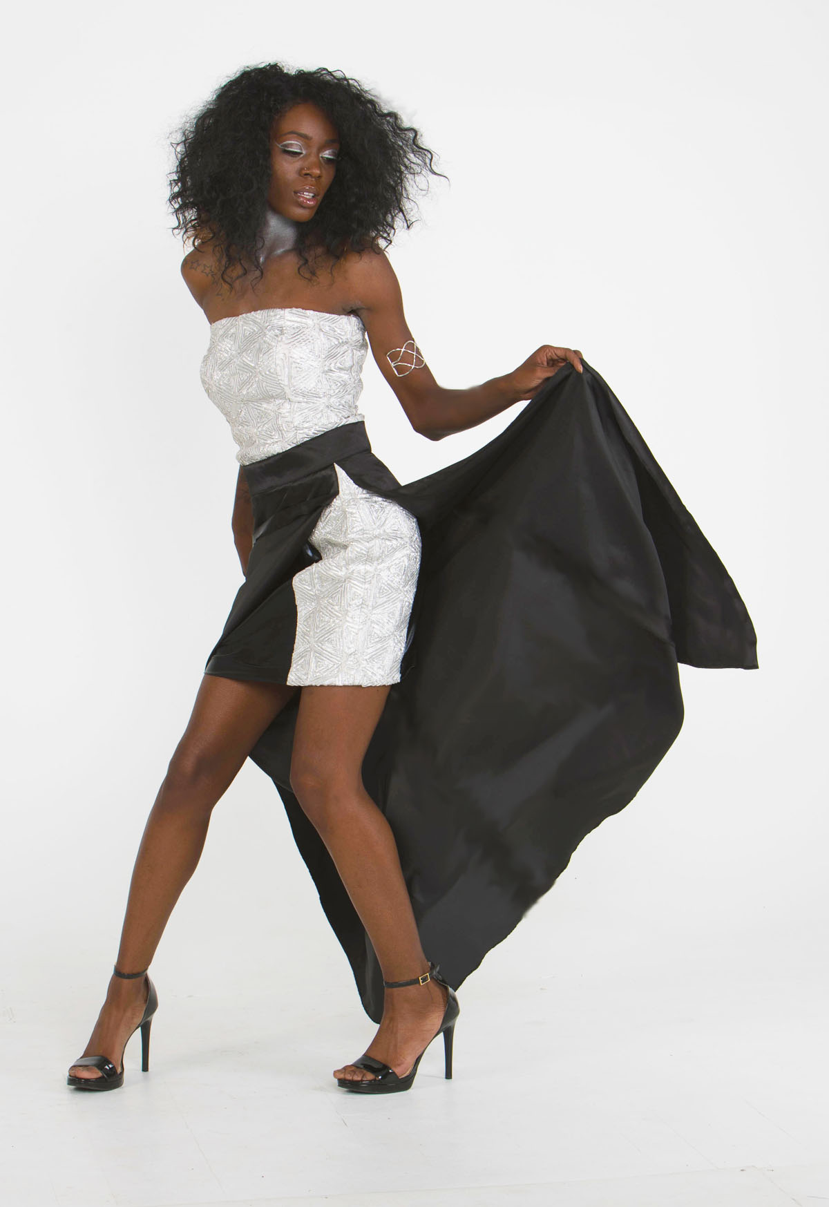 Buy Designer Silver Black Two Piece Top And Skirt Set For Women