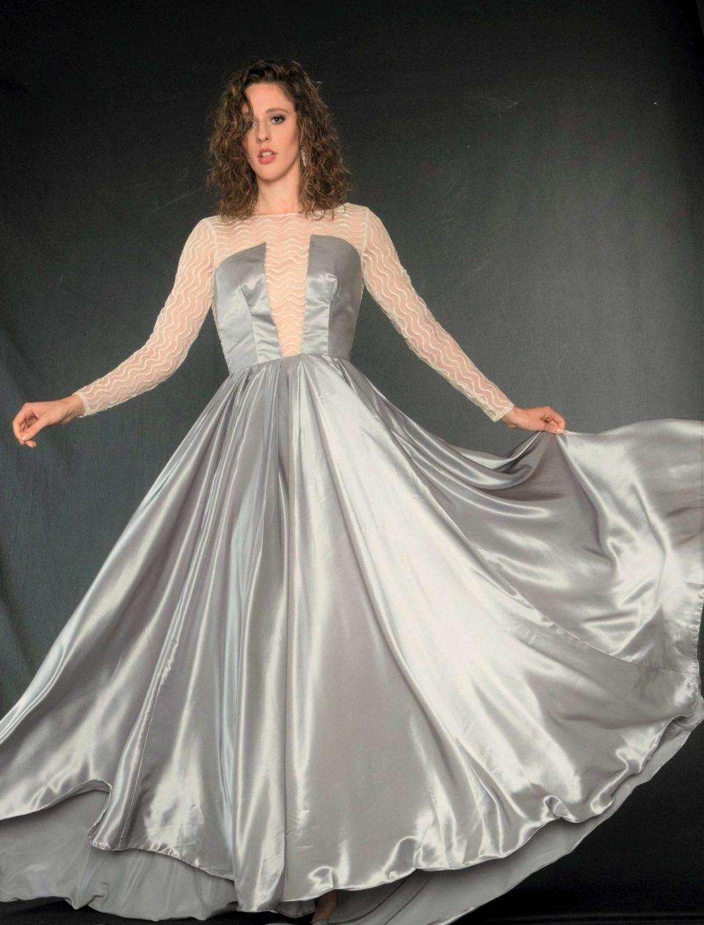 Buy Designer Silver Andromeda Ball Gown For Women Online - Kahini ...