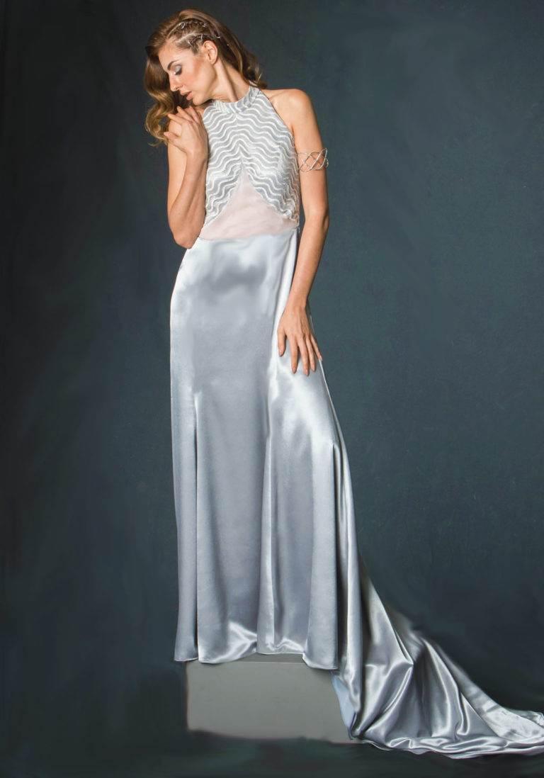 silver long halter designer gown