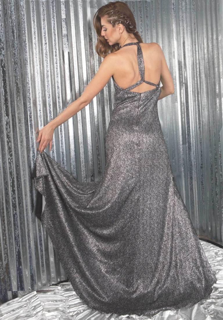 silver shimmer designer long dress boutique
