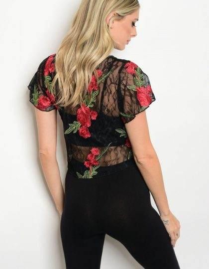black red lace knit designer boutique bellevue seattle top